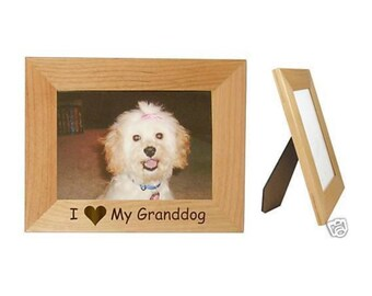 """I Love My Granddog 5"""" x 7"""" Picture Frame Personalized Photo (Engraved As You Like)"""