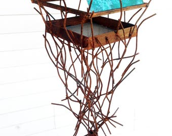Sculptural Steel & Copper Bird Feeder No. 362 - Freestanding unique modern bird feeder