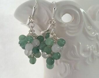 Green Aventurine and Snow Quartz Cluster Earrings - Grape Earrings - Green and White Dangle Earrings - Lever Back - Natural Gemstone - Boho