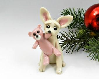 Chihuahua Christmas Ornament Figurine Porcelain Clay Teddy Bear
