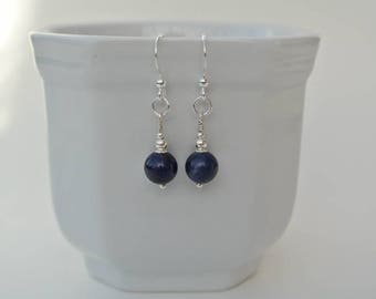 Navy Blue Earrings - Sterling Silver Earrings with Sodalite Royal Blue Drops - Silver Blue Hook Earrings