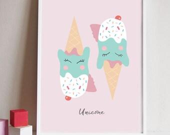 Unicorn print, unicorn ice cream print