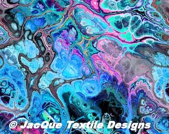 Blue Gray Pink UNIQUE Handmade Velvet Upholstery Fabric Shimmer Fiber Art Fabric