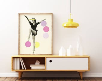 Dance Art Print, Retro Wall Art, Pop Art, Female Figure, Mid Century, Pink and Yellow Decor - The Rules of Dance II
