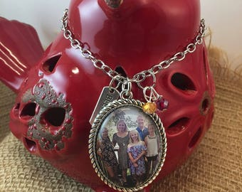 Handcrafted custom glass tile photo necklace vintage style/personalized