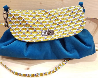 Blue corduroy with yellow flap handbag