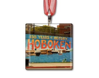 Hoboken-New Jersey - Handmade Glass Photo Ornament