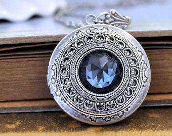 antiqued silver locket necklace, vintage jeweled necklace, Montana blue necklace, photo locket, round pendant
