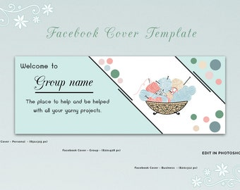 Knitting Facebook Group Cover Template, Facebook Cover Template, Facebook Banner, Facebook Timeline, Facebook Template, INSTANT DOWNLOAD