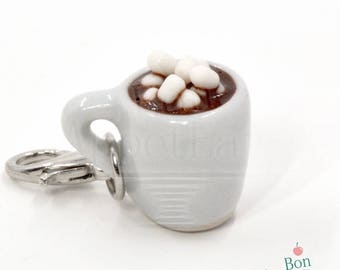 Hot Chocolate Charm, Polymer Clay Food Charm, Miniature Food Jewelry, Christmas Jewelry, Cell Phone Charm, Tiny Food Jewelry