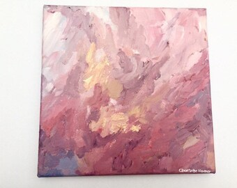"Small abstract Painting pink gold 8""x8"" Acrylic Canvas"