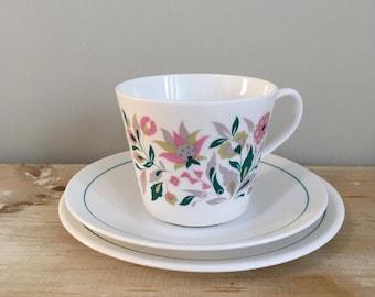 1960's Retro Ridgway  Kismet Pink Aqua Trio Cup Saucer Plate Vintage China