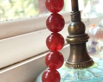 10 Dark Orange Red Carnelian Beads, 10mm round.