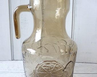 Retro Italian smoked glass juice jug, water pitcher.