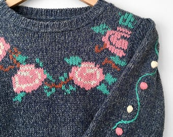 Vintage, 1970's, 70's, Needlepoint, Bobble, Pleated-Shoulder, Fitted, Knit, Sweater, Top