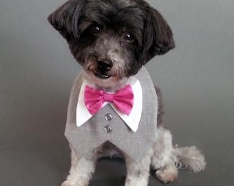 Heather Gray Dog Wedding Tuxedo, Dog Tux, Dog Tuxedo With Satin or Cotton Bow Tie