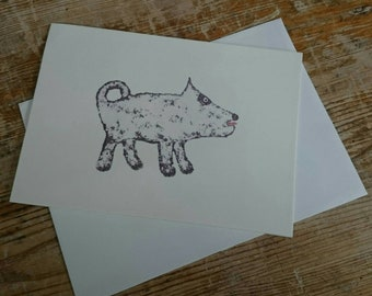 Dog greetings card - a uniquely designed, quirky and lovable character, black and white, left blank for your own message - birthday, animal.