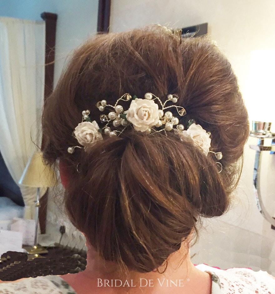 mulberry flower hair vine hair up bun bridal hair