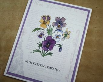 Sympathy Pansy Purple Lavender Yellow Pansies Floral Thinking of You Handmade Greeting Card