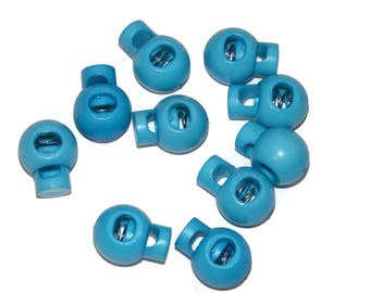Light Blue Cord Locks for Paracord - Single Hole Round - Parachute Cord Accessories Fits 550 Paracord - Great for Crafts, Drawstring Bags