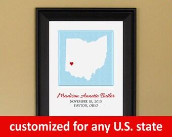 Personalized Baby Art - Customized Birth Announcement Print - New Mom Gift - Custom Ohio Map - 11 x 14