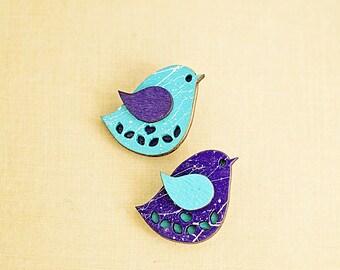 Wood laser cut handpainted blue bird brooch Purple handmade wooden brooch Purple blue white wooden accessory
