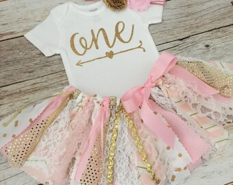 Pink and Gold Sparkly Arrow Birthday Outfit with Headband, Pink and Gold Fabric Tutu, Baby Girl Pink and Gold First Birthday Outfit