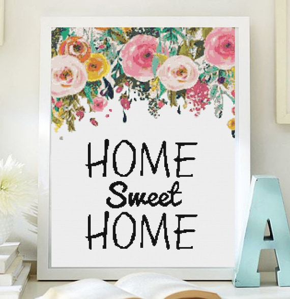 Cross stitch pattern modern. home sweet home cross stich, PDF ...