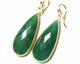 Green Emerald Earrings Precious Emerald Teardrop Earrings Real Emerald Genuine Emerald 14k Gold Bezel Earrings May Birthstone BZ-E-139-Em/g