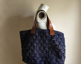 Vintage Blue Basket Woven Bohemian Carry All Bag
