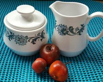 "Noritake Progression Vintage (c.1970s) ""Stephanie"" 9027 Covered Sugar Bowl and Creamer"