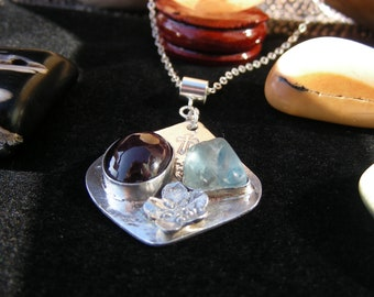 Saint Philomena Tribute Sterling Silver Pendant, Handmade Necklace, Garnet Necklace, Swiss Blue Topaz Necklace,