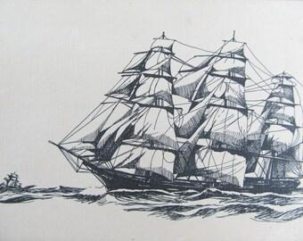 Gravure vintage d'un voilier, impression d'artiste d'une goélette