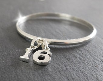 Coming of Age Bangle, Silver Bracelet with Age, 16th 18th 21st 30th 40th Birthday Gift, Sixteenth Birthday Gift, Eighteenth Birthday Gift