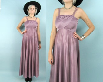 70s Lilac Maxi Dress, Vintage Formal Gown, Size Small, Lavender, Purple, Prom Dress, Shiny, Retro, Asymmetric, Party Dress, Mad Men