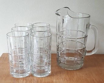 Glass Pitcher and Glasses Tartan by Anchor Hocking