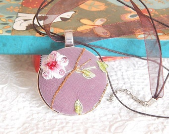 Burgundy or peach beaded necklace, floral necklace for women, pendant measures 1.5 inches