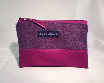 """Purple """"Mabel"""" Coin and Card Purse Wallet in Wool and Leather."""