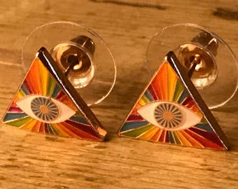 Prism Rainbow Eye Earrings Jewelry - Third Eye Mantra Meditation Meditate Music Festival Concert LGBTQ Queer Pyramid Enlightenment Nirvana
