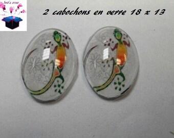 2 glass cabochons 18mm x 13mm salamander theme