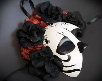 Day of the Dead Mask - Sugar Skull Skeleton Masquerade Halloween Mask, Dia de los Muertos Mask, Masquerade Mask
