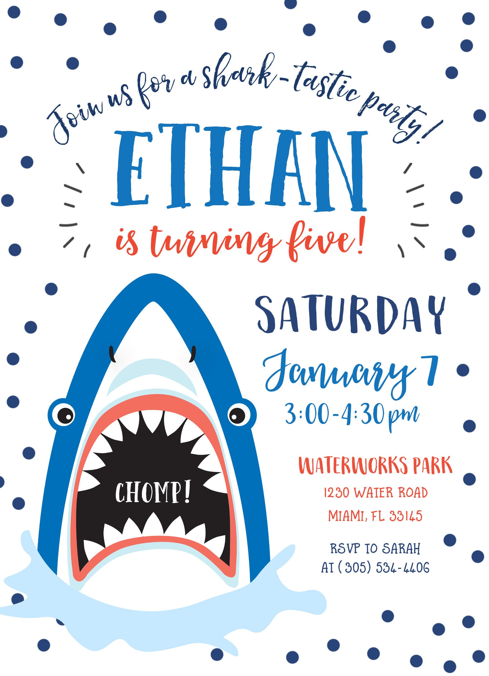Wonderful Shark Invitation, Shark Birthday Invitation, Shark Birthday Party  BL86