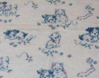 Vintage Baby Receiving Blanket-Old Stock-NOS-NEW-Puppies and Kittens