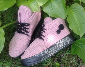 Summer boots for women. Summer knitted boots. Knitted shoes for women. Handmade boots. Lace female boots.