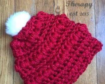 Valentine's Day hat, Valentine's crochet hat, valentine gift, gift for her, child crochet hat, adult crochet hat, Valentine's Day, pom pom