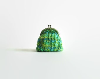 Coin Purse Knitted in Blue Green Wool