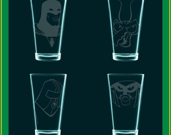 Space Ghost - SET of 4 - SGC2C fanart drinking glasses - Space Ghost (Coast to Coast) etched pints