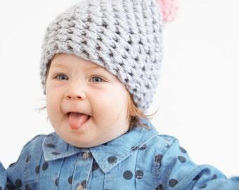 Baby Slouchy Pom Pom Hat in Gray & Pink