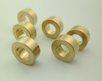 30pcs High Quality 9x4mm Raw Brass Chunky Round Solid Large Hole Beads Spacers for Leather Cord Silk Rope 0101-0805