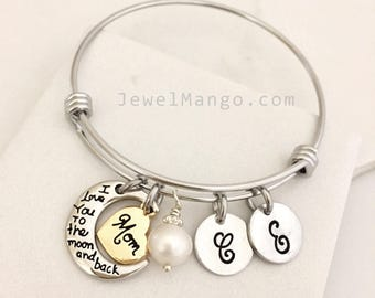 SALE / Mother Gifts / Gifts for Mom / I love you to the moon and back / Bangle, bracelet, heart, freshwater pearl, adjustable, moon